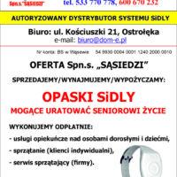 """Ulotka z ofertą Spółdzielni Socjalnej """"Sąsiedzi"""" z Ostrołęki w sprawie opaski telemedycznej - strona nr 2"""
