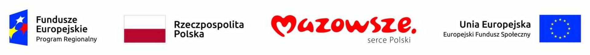 zestawienie czterech logotypów, wyliczając od lewej: logotyp Funduszy Europejskich Programu Regionalnego, flaga Rzeczpospolitej Polskiej, logotyp Mazowsze serce Polski oraz flaga Unii Europejskiej z dopiskiem Europejski Fundusz Społeczny