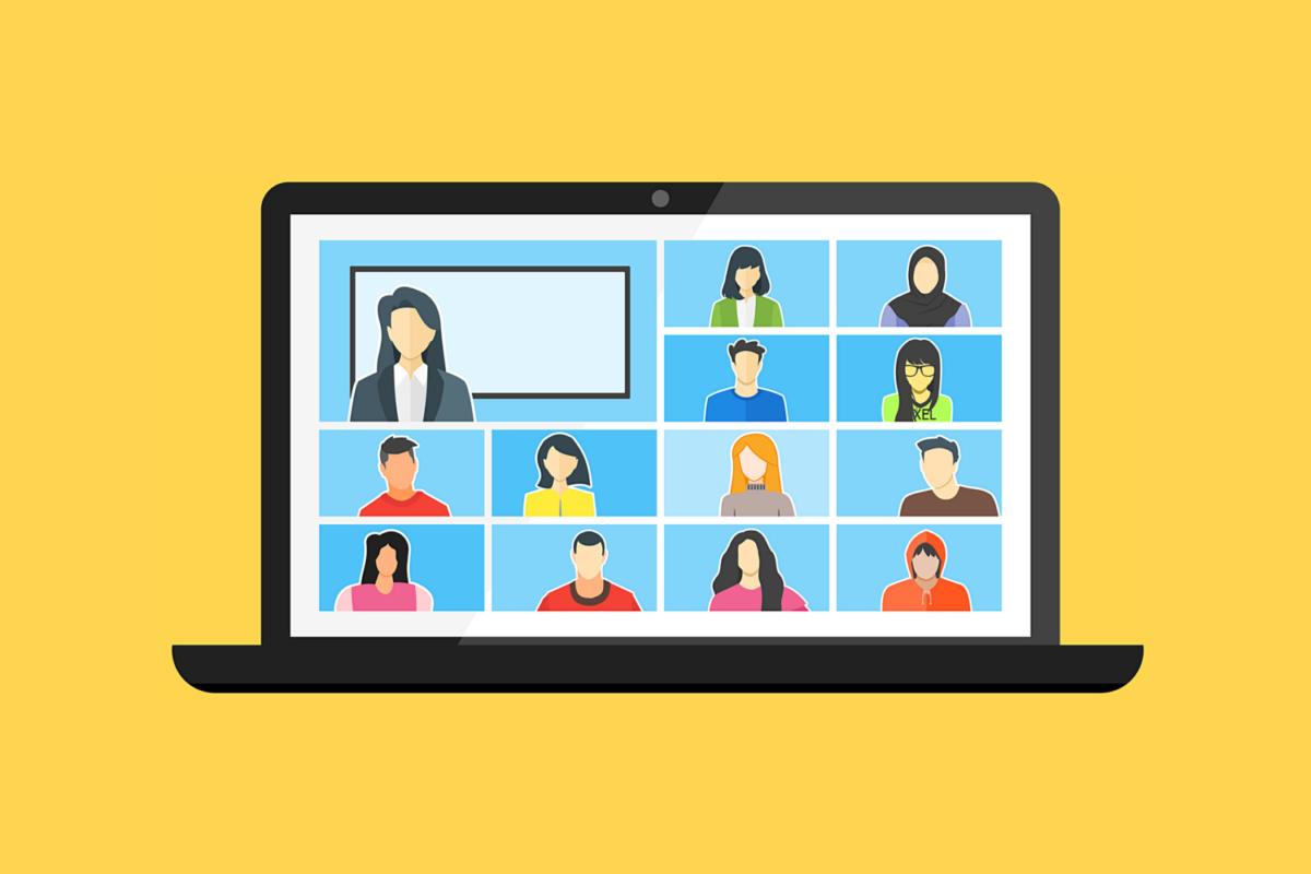 Obrazek z ekranem komputera z sylwetkami osób uczestniczących w spotkaniu on-line