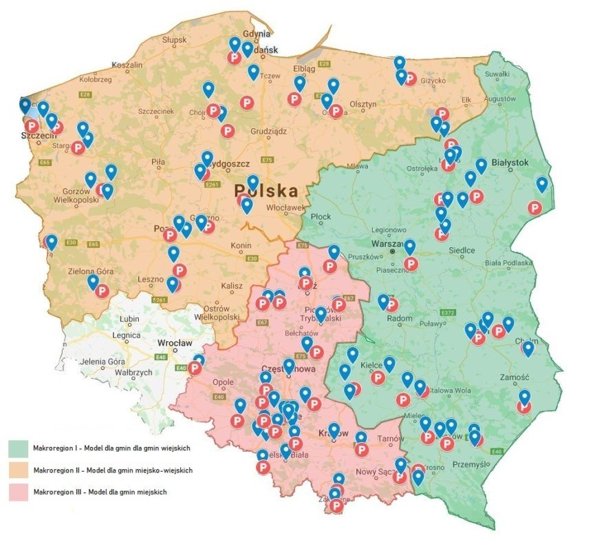 Mapa Polski z zaznaczonymi makroregionami