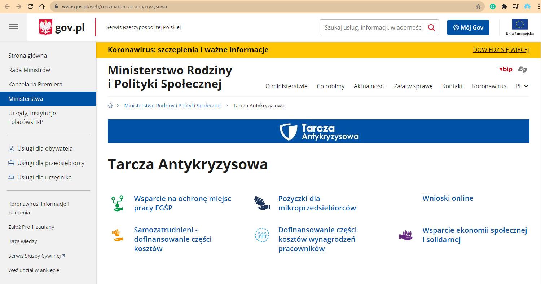 Rzut ekranu strony gov.pl z informacjami dotyczącymi tarczy antykryzysowej