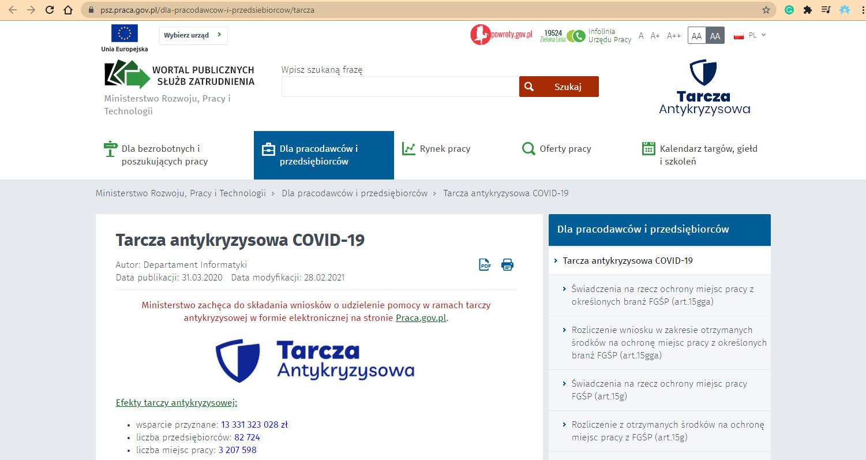 Zrzut ekranu ze strony internetowej publicznych służb zatrudniania dotyczącej pomocy w ramach tarczy antykryzysowej